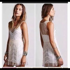 free people sheer beaded top sz L new with tags